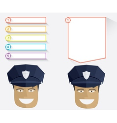 Policeman and blank message boards vector image vector image