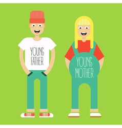 pregnant couple vector image