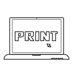 Print icon outline style vector