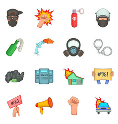 Protest items icons set cartoon style vector