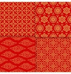 Red geometric pattern set vector image