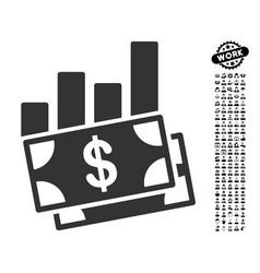 Sales bar chart icon with men bonus vector