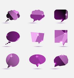 Set of purple polygonal geometric speech bubble vector
