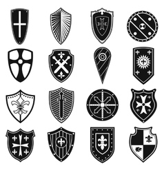 Shields icons set vector image vector image