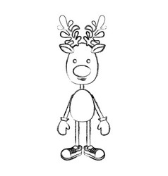 silhouette blurred reindeer standing with gloves vector image