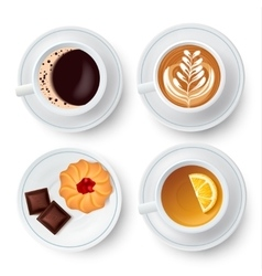 Similar isolated cups with tea and coffee vector