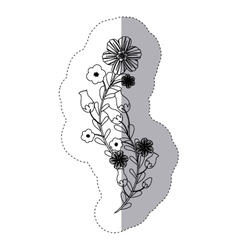 Sticker silhouette bouquet flowers and leaves vector