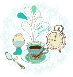 Vintage color morning tea background vector image vector image