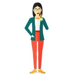 Woman smoking cigar vector