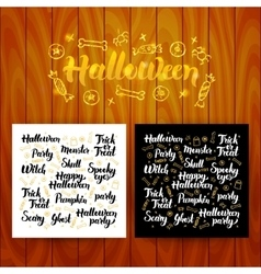 Halloween lettering postcards vector