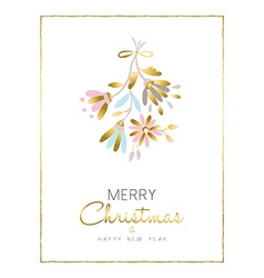 Merry christmas and new year gold flower card vector