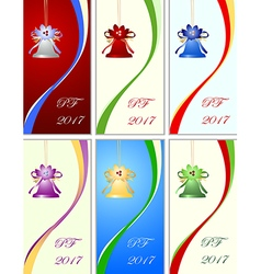 Set of six congratulation card to Christmas vector image