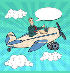 Pop art man riding retro airplane vector