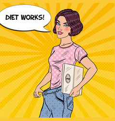 Woman in big jeans happy of dieting pop art vector