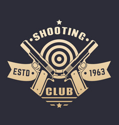Shooting club logo emblem with two pistols vector