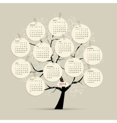Calendar tree 2014 for your design vector