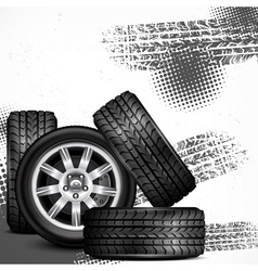 Car wheels and tire tracks vector