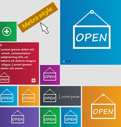 Open icon sign metro style buttons modern vector