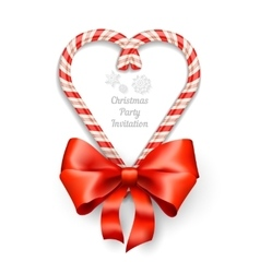Candy canes in heart shape vector