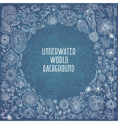 Hand drawn underwater world background vector