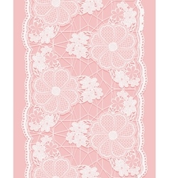 White seamless lace ribbon on pink background vector