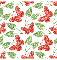 Pattern with red butterflies and green leaves vector