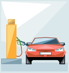Red car at fuel station over blue background vector