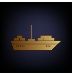 Ship sign golden style icon vector