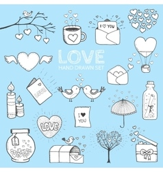 I love you doodle icon set isolated vector