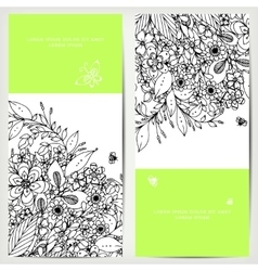 Card with floral banners vector