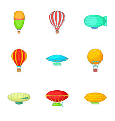 Air balloon festival icons set cartoon style vector