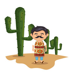 Background cactus with traditional mexican man vector
