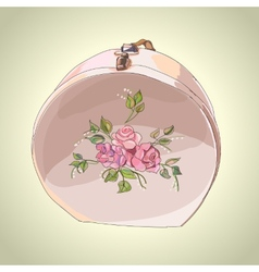 Beautiful hat box with flower ornament vector