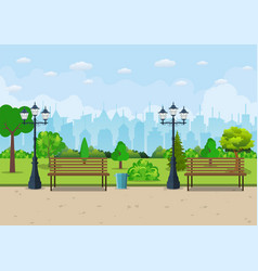 Bench with tree and lantern in the park vector