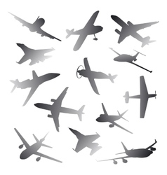 Big collection of different airplane silhouettes vector image