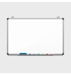 Blank white board with colored markers vector