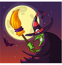 cartoon old witch in hat with a broom vector image
