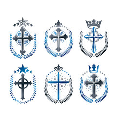christian crosses emblems set heraldic design vector image