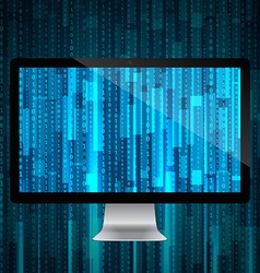 computer with matrix background vector image vector image