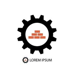 Construction logo wih gear wheel and bricks vector