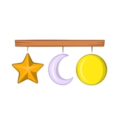 Crib mobile icon cartoon style vector