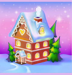 Dreamlike cottage in the snow vector