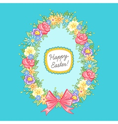 Easter wreath egg blue vector image