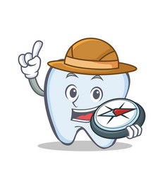 Explorer tooth character cartoon style vector