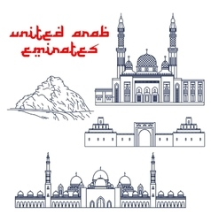 Famous tourist attractions of UAE thin line icons vector image vector image