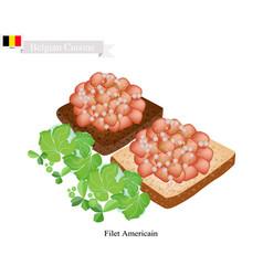 Fillet americain a popular dish in belgium vector