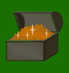 flat shading style icon treasure chest vector image vector image