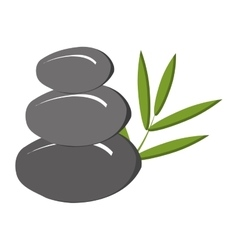 Grey rock and green tree leaves graphic vector