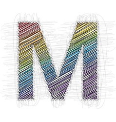 Hand draw font letter m vector