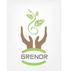 Human hands hold green plant vector image vector image